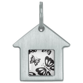 Butterfly Pattern - Black and White Pet Tag