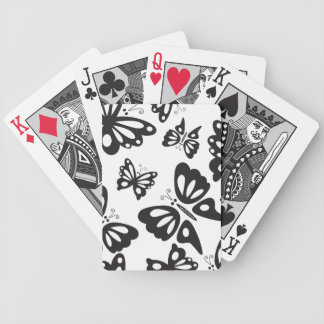 Butterfly Pattern - Black and White Poker Deck