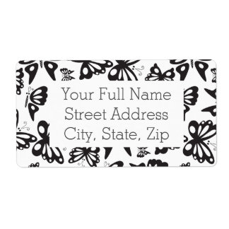 Butterfly Pattern - Black and White Shipping Label