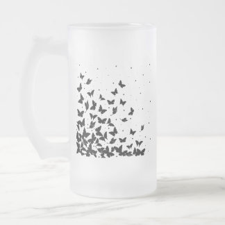 Butterfly pattern frosted glass beer mug
