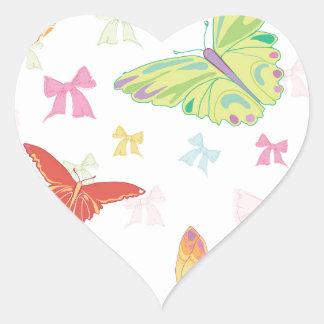 Butterfly pattern heart sticker