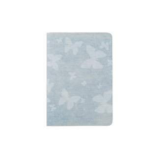 Butterfly pattern on faded denim look passport holder