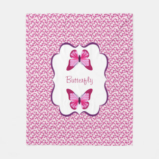 Butterfly Pattern Pretty Pink Purple Fleece Blanket