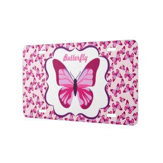 Butterfly Pattern Pretty Pink Purple License Plate