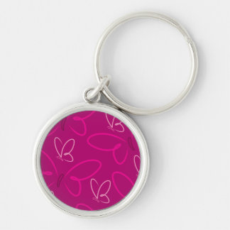 Butterfly pattern Silver-Colored round keychain