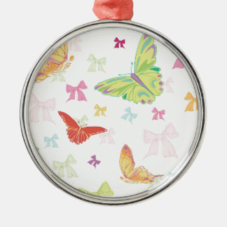 Butterfly pattern Silver-Colored round ornament