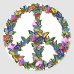 Butterfly Peace Symbol Round Stickers
