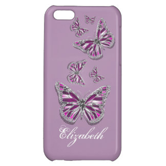Butterfly PERSONALIZED girly pink purple silver iPhone 5C Cover