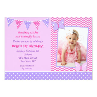 Butterfly Photo Birthday Party Invitations