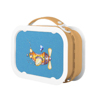 Butterfly Pilot Pixel Art Airplane Lunch Box