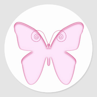 butterfly pink classic round sticker