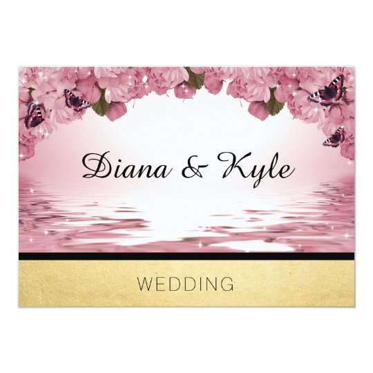 Butterfly Pink Gold Wedding Template Invitation