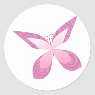 Butterfly Pink Ribbon Round Sticker