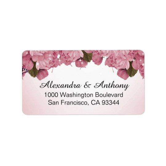 Butterfly Pink Roses Wedding Return Address