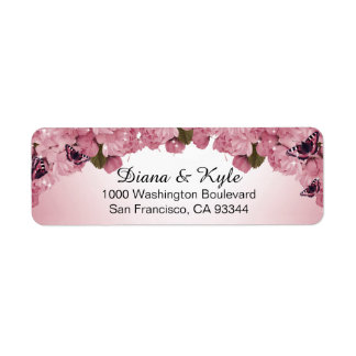 Butterfly Pink Roses Wedding Return Address