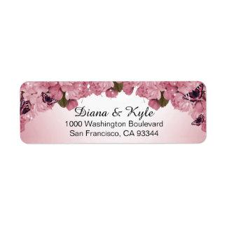 Butterfly Pink Roses Wedding Return Address Return Address Label