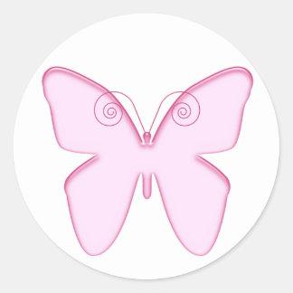 butterfly pink round sticker