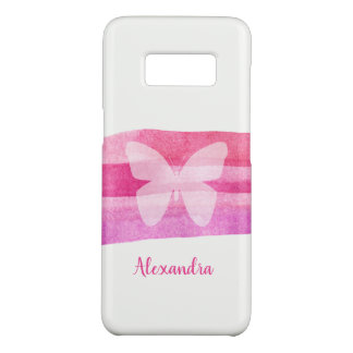Butterfly & Pink Watercolor Personalized Case-Mate Samsung Galaxy S8 Case
