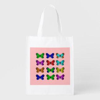 Butterfly pixel art market totes