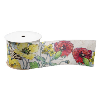 Butterfly Poppy Wildflower Flowers Ribbon Satin Ribbon