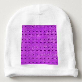 Butterfly print purple baby beanie