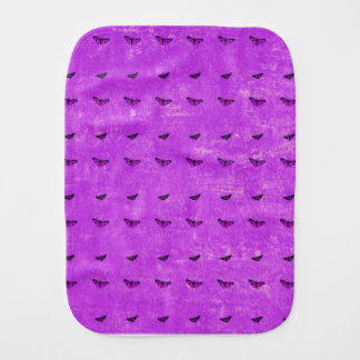 Butterfly print purple burp cloth