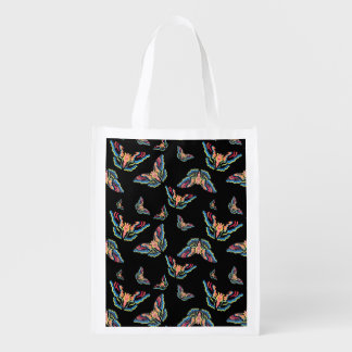 Butterfly print reusable tote grocery bag
