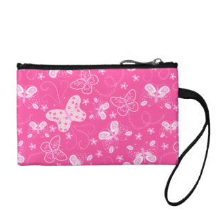 Butterfly printed embroidery coin wallets