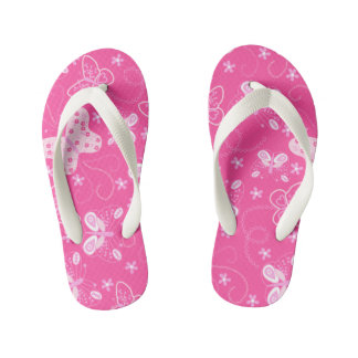Butterfly printed embroidery kid's flip flops