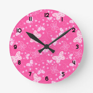 Butterfly printed embroidery round clock