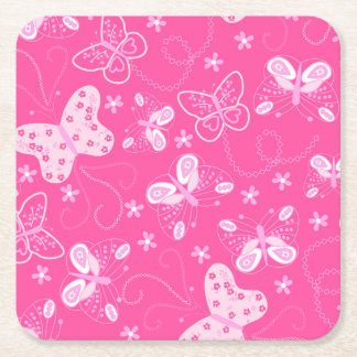 Butterfly printed embroidery square paper coaster