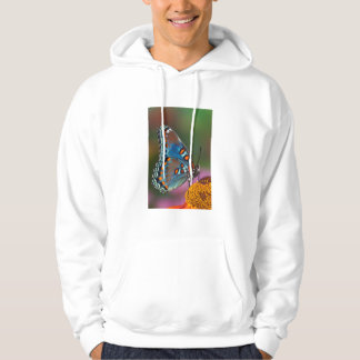 Butterfly profile on a flower hoodie