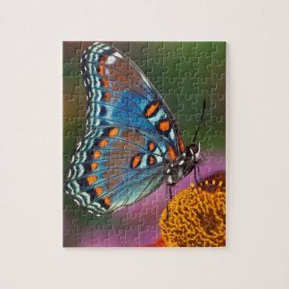 Butterfly profile on a flower jigsaw puzzle