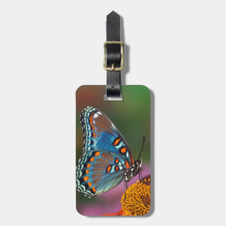 Butterfly profile on a flower luggage tag