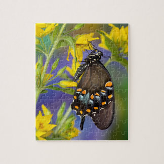 Butterfly profile on yellow flower puzzle