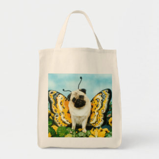 Butterfly Pug Grocery Bag