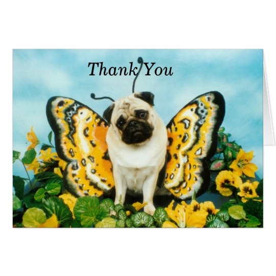 Butterfly Pug Thank You Card