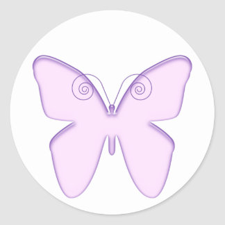 butterfly purple classic round sticker