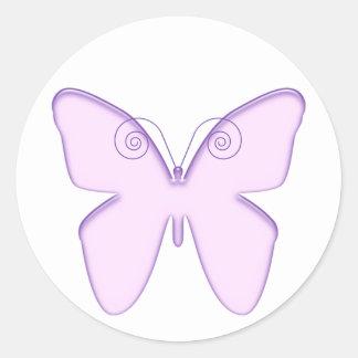 butterfly purple round sticker