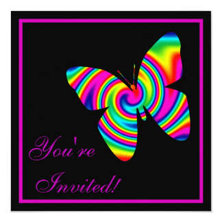 """Butterfly Rainbow Twirl 5.25"""" Square Invitation Card"""