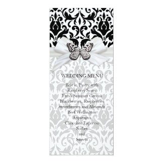"Butterfly Ribbon Damask Wedding Menu 4"" X 9.25"" Invitation Card"
