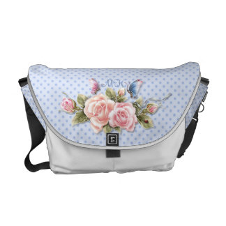 Butterfly Roses on Blue Dots with Monogram Messenger Bag