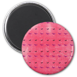 Butterfly rosy 2 inch round magnet