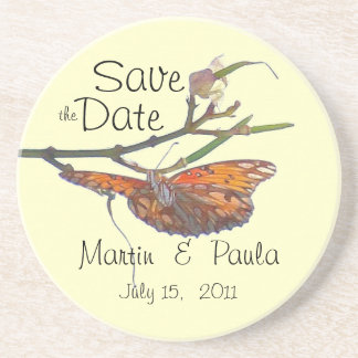 Butterfly Save the Date Coaster