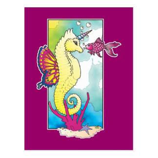 butterfly seahorse and fish post card