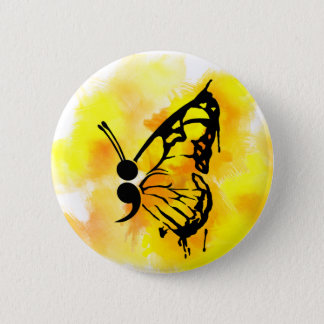 Butterfly semicolon badge 2 inch round button