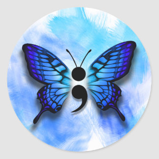 Butterfly semicolon badge classic round sticker