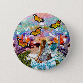 BUTTERFLY SHOW FOR FAE AND FROGS 2 INCH ROUND BUTTON