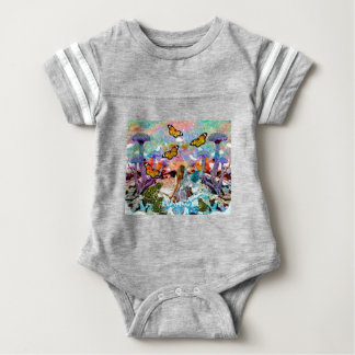 BUTTERFLY SHOW FOR FAE AND FROGS BABY BODYSUIT