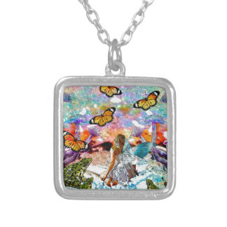 BUTTERFLY SHOW FOR FAE AND FROGS SILVER PLATED NECKLACE